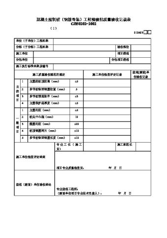 混凝土预制桩(钢筋骨架)工程检验批质量验收记录表Ⅰ