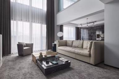 叶永志新作丨220m² 高级灰复式公寓,时尚现代装饰风范