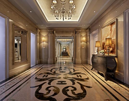 欧式酒店餐厅走廊