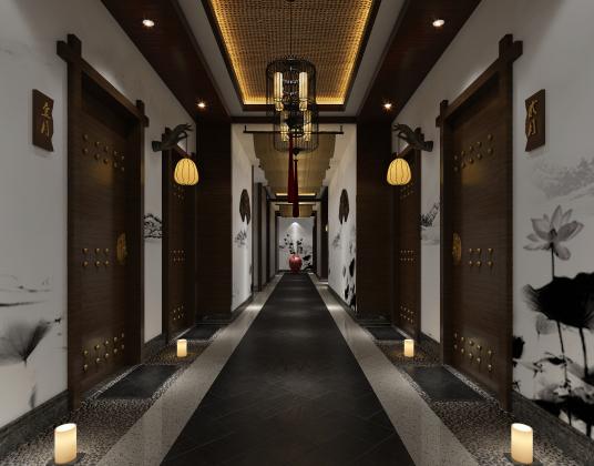 中式酒店走廊