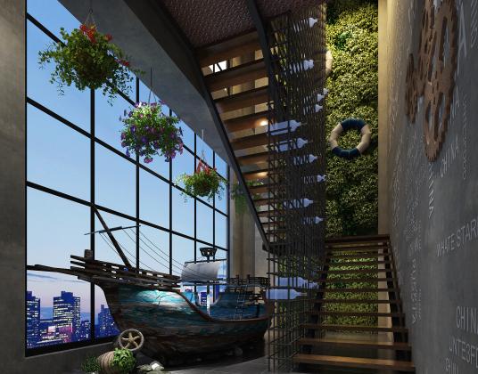 工业风酒店楼梯