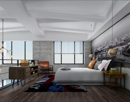工业风公寓卧室