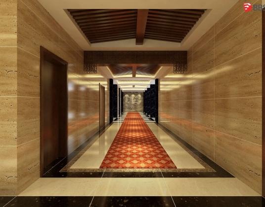 某中式酒店过道