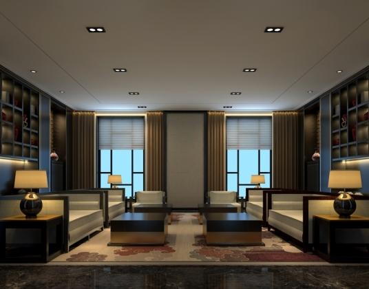 中式会所式办公楼贵宾休息室
