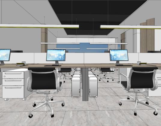 现代禅意办公楼办公区