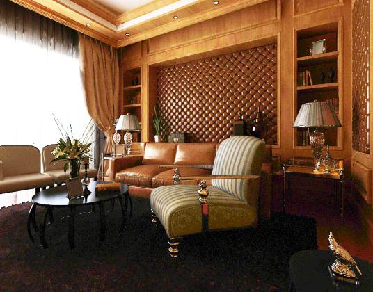 美式书房沙发休闲椅组合