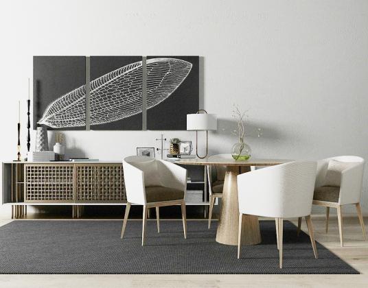 现代简约电视柜陈设品桌椅组合