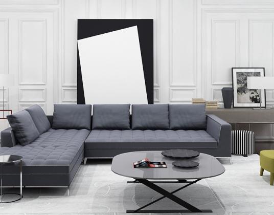 现代客厅多人转角沙发椅子组合