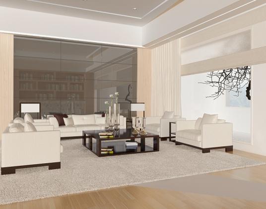现代客厅三人单人沙发组合