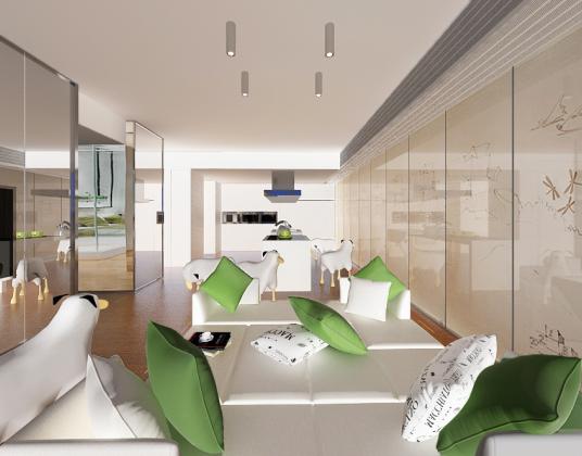 现代样板房客厅多人沙发组合