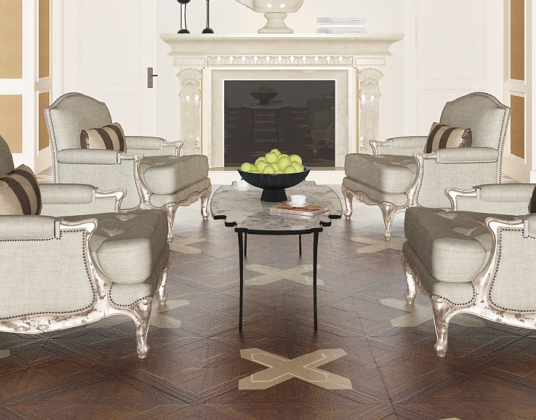 现代欧式客厅沙发组合模型