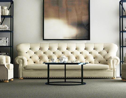 美式客厅沙发组合模型