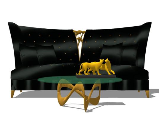 美式金属布艺双人沙发