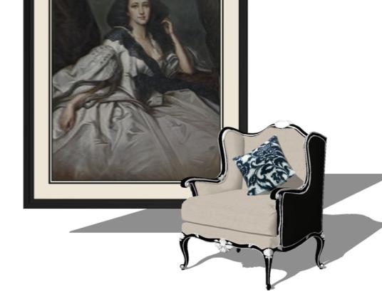 欧式布艺单人沙发