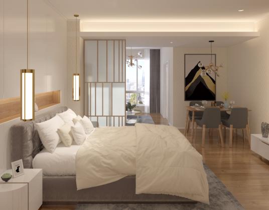 北欧现代极简卧室客厅