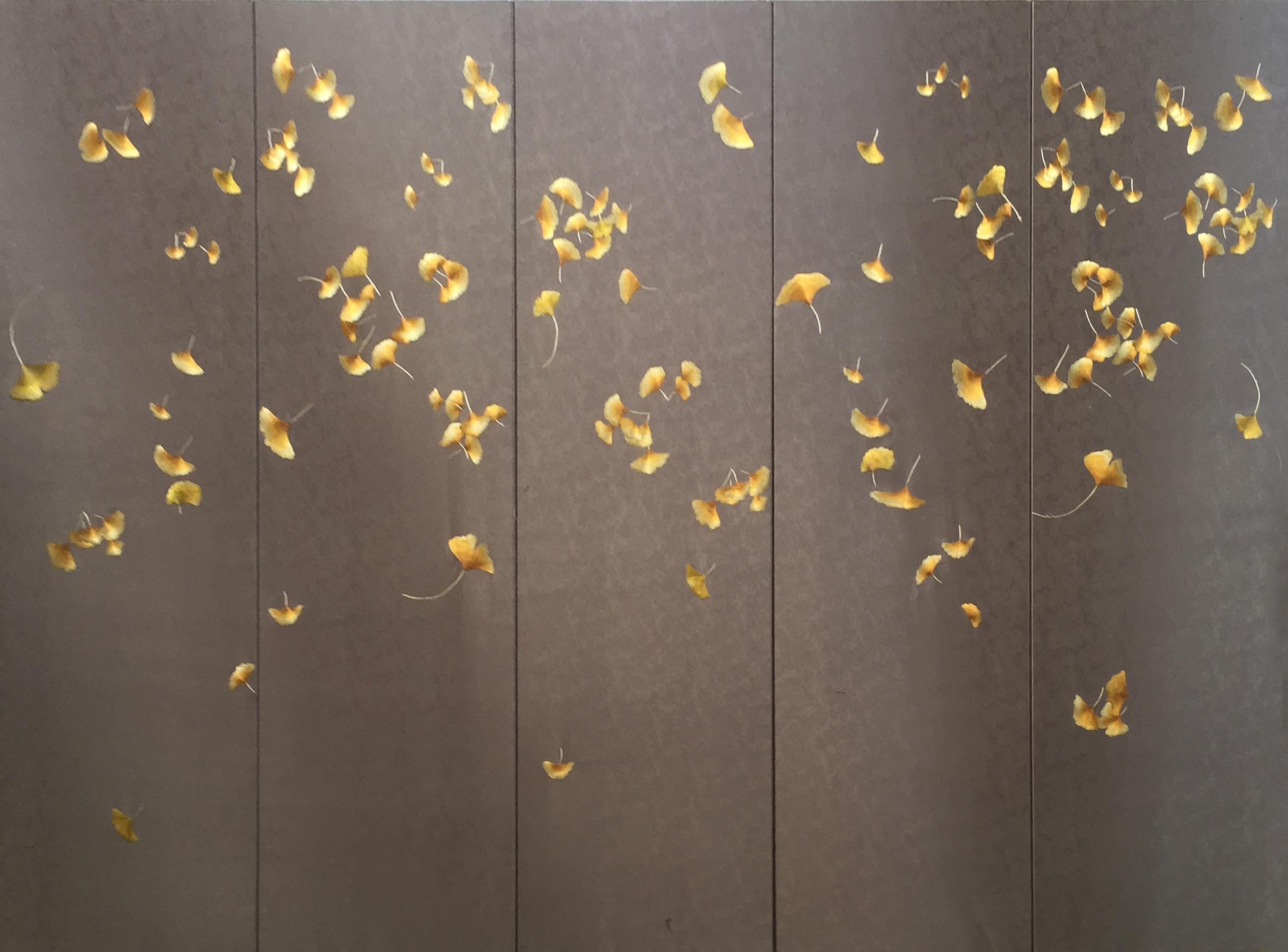 银杏叶刺绣布纹